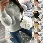 UK Women Warm Long Sleeve Fluffy Sweater Jumper Pullover Sweatshirt Sweat Top TY
