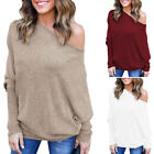 US Womens Off the Shoulder Chunky Knit Jumper Ladies Oversiz