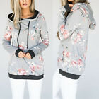 Women Print Floral Hoodie Ladies Lace Up Blouse Girl Hooded Flower Shirt Casual