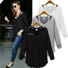 V-Neck Casual Stylish fashion Women Long Sleeve Loose Blouse T-Shirt Top B20E