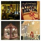2M 138LED Curtain Window Stars String Fairy Lights XMAS Wedding Party Christmas