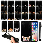 "For Apple iPhone X 5.8"" Dog Design TPU Black SILICONE Soft Case Cover + Pen"