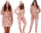 Womens French Bulldog Hooded Robe Flannel Fleece Bathrobe Dressing Gown Pyjamas
