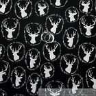 BonEful Fabric FQ Cotton Quilt Black White B&W VTG Deer Buck Leaf Hunt Log Cabin