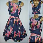 NEW F&F TEA DRESS RETRO 50'S DITSY FLORAL DARK NAVY RED YELLOW PINK SIZE 6 - 22