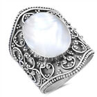 Mother of Pearl Bali Swirl Oxidized Ring New 925 Sterling Silver Band Sizes 6-10