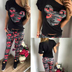 Damen Sports Camouflage Mickey Trainingsanzug Sweatshirt T-Shirt Tops Hosen Sets