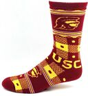 USC Trojans Red and Gold Quilt Plaid With Dots Crew Socks Logos Name Ankle