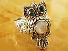 Stunning Night Owl Carving Topaz White Shell Bali Sterling Silver 925 Ring M603