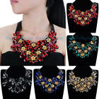 Luxury Statement Black Chain Shiny Cluster Glass Crystal Linen Choker Necklace