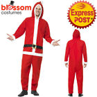 CA509 Santa All in One Hooded Jumpsuit Christmas Xmas Mens Ladies Unisex Costume