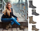 Ladies Womens Press Stud Fold Over Faux Fur Biker Style Ankle Boots Shoes UK 3-8