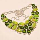 """Gorgeous Green Copper Turquoise,Peritot Topaz Gemstone Jewelry Necklace  16-18"""""""