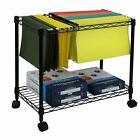 mobile carts - 2 Tiers Layer Metal Rolling Mobile File Cart Office Supplies w/ Wheels Black
