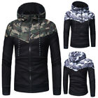 Winter Men Camouflage Hoodie Zipper Running Sweatshirt Jacket Athletic Apparel