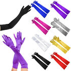 "Ladies Long 22"" Opera Evening Finger Gloves Satin Charleston Party Dress Prom TY"