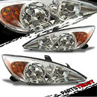 2002 2003 2004 Toyota Camry Sedan Chrome Factory Style Amber Headlights Pair
