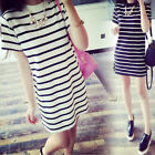 Fashion Summer Women Shirt Dress Strip Short Sleeve Long T Shirt Side Slit Mini