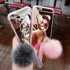 Mirror Fur Ball Tassels Ring Soft Case Cover for iPhone Samsung S6 S7 S8 Plus