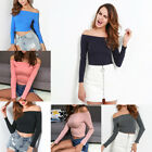 Women Slimming Off Shoulder Solid Long Sleeve Cotton T-Shirt Top Casual O6720