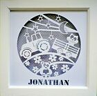 Hand made Framed  Papercut Wall Art / Tractor Scene / Gift / Can be personalised