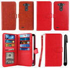 For LG G3 D850 D851 LS990 VS985 Card Holder Wallet Cover Case Wrist Strap + Pen