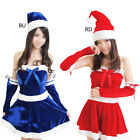 Women Stylish Merry Christmas Polyester Hat Short Dress Party Clubwear Cosplay