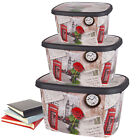 Set of 3 Large Jumbo Plastic Storage Boxes With Lids Stackable Toy Box Container