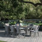 Lenorde Outdoor 9 Piece Wicker Rectangular Dining Set with Water Resistant Cushi
