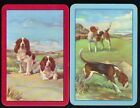 Puppy BEAGLE Hunt Dogs in Pairs Vintage Linen SINGLE Swap Playing Card NOT DECK