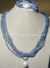 Blue AB 4mm Crystal BEADS NECKLACE BRECELET SET SHELL PEARL PENDANT Y22346