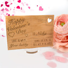 Engraved Wooden Valentine's Day Postcard with Stand, Special, Cute, Memory