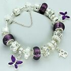 Ladies Purple Charm Bracelet 16th 18th 21st 30th 40th 50th BIRTHDAY Present Gift