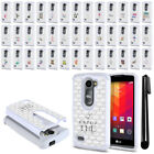 For LG Leon C40 Power L22C Destiny L21G Crystal Bling HYBRID Case Cover + Pen