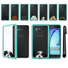 For Samsung Galaxy On5 G550 G500 Dog Skin Clear TPU Teal Bumper Case Cover + Pen