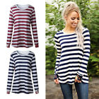 Round Neckline Long Sleeve Tops Women Sexy Printing Streak T-Shirt O6894