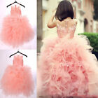 Lovely Pink Organza Applqiues Flower Girl Dresses Bridesmaid Wedding Party Gown