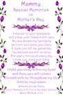 Mother's Day graveside Memorial Bereavement Card Mum Mam Grandma Nan MD34