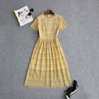 Hot sale Occident round neck fashion gold hollow out order bead knee dress SMLXL