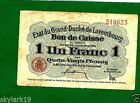 LUXEMBOURG 1 FRANK P21 F+ L.1914, NO PHS FRENCH TEXT ONE SIDE, LUXEMBOUG ON REV.