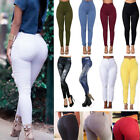 Women's High Waist Stretch Skinny Pencil Pants Trousers Deni