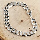 MENS SOLID STERLING SILVER CURB BRACELET 11mm WIDTH HALLMARKED POUCH AND BOX
