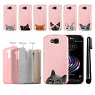 For LG X Venture X Calibur V9 Cat Design Sparkling Light Pink Case Cover + Pen