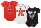 Outerstuff NBA Infant Chicago Bulls 3 Piece Bodysuit Pack, Red/Black/White