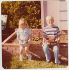 Square Vintage 70s PHOTO Little Blond Girl & Boy Siblings w/ Easter Baskets