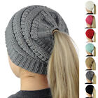 Women Warmer Messy High Bun Ponytail Stretchy Knitted Wool Beanie Cap Skull Hat