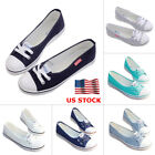 ladies shoes - US Womens Ladies Lace Up Canvas Casual Flat Shallow Slip On Shoes Loafer Summer