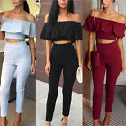 2018 Womens 2Pcs Ruffle Crop Top Jumpsuit Ladies Sleeveless Cut Out Playsuit TY