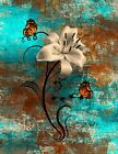 Teal Brown Home Decor Floral Butterfly Wall Art Matted Picture