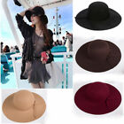 Vintage Women Ladies Floppy Wide Brim Wool Felt Bowler Beach Hat Summer Sun Cap